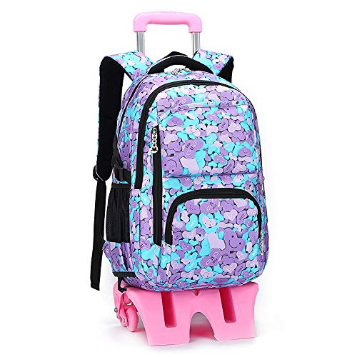 DHR Trolley School Bag Students with Heightened Six wheels backpack Climbing stairs Detachable Push bag child Suitcase Children's backpack (Color : Heart shape)