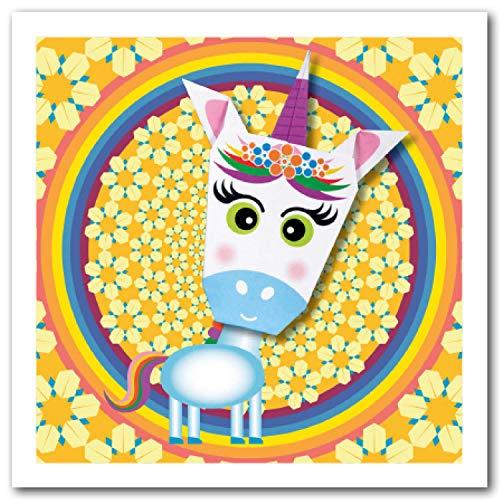 Tarjeta de origami: unicornio morado arco iris y flor 150 mm cuadrado