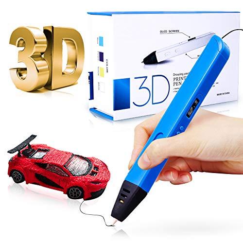 Gifort Penna 3D, Penna 3D con Schermo OLED, Temperatura/velocità Regolabili, PLA e ABS da 1,75 mm, Filamento da 120 Pollici con 6 Colori, Penne 3D per Bambini/Adulti, per Arte, Regalo, Creazione
