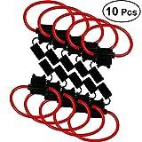 OUNONA 10 PCS ATC/ATO 10 Gauge 30 AMP Portafusibile Medio in Linea con Cavo da 30 cm per C...