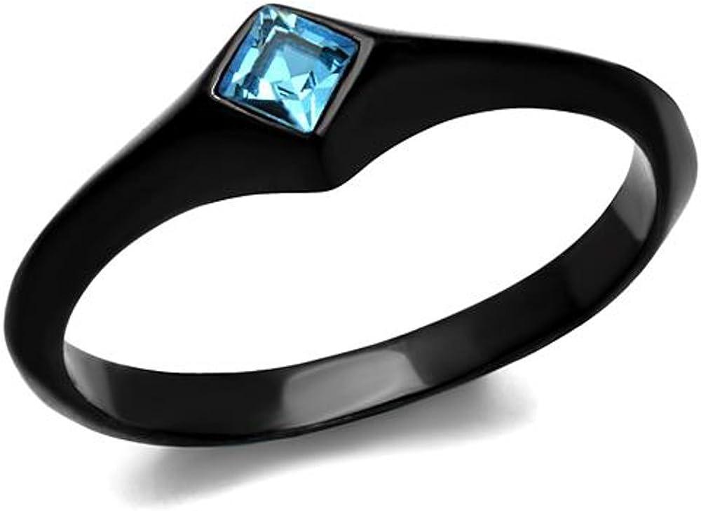 Marimor Jewelry Women Princess Cut Sea Blue Cubic Zirconia Stainless Steel Black Engagement Ring