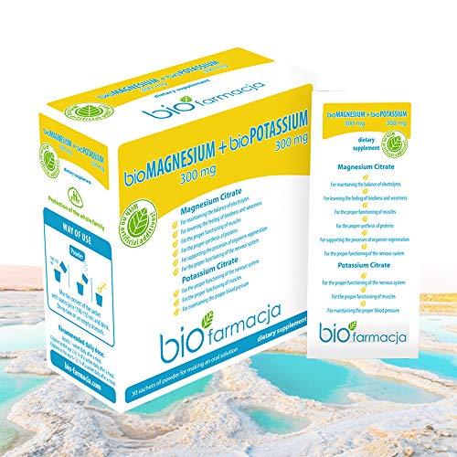 Citrato de magnesio natural + citrato de potasio del mar muerto   Magnesio en polvo 300 mg + Potasio en polvo 300 mg   Sin OGM y Suplemento Dietético 100% Vegano - 30 sobres