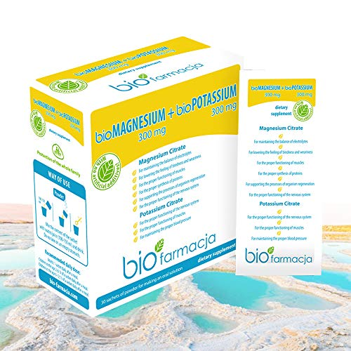 Natural Magnesium Citrate + Potassium Citrate from Dead Sea | Magnesium Powder 300 mg + Potassium Powder 300 mg | No GMO & 100% Vegan Dietary Supplement – 30 sachets