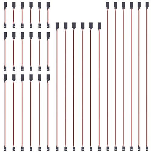 GTIWUNG 30 Stück RC Servo Verlängerungskabel, JR Servoverlängerung, Servokabel, JR Stecker Verlängerung, Servo Extension 3 Pin Kabel 22AWG 60 Kerne Kabel Futaba, 10cm, 15cm, 30cm, 50cm und 60cm