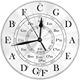 JUJUE Circle of Fifths Fashion Round Classic Wall Clock Battery Operated 10' Clock for Home Living Room Office Decoration