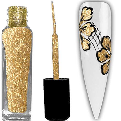 1 Flasche NAILART-LINER CYN/MPK mit feinem Pinsel, 8ml: #30 GOLD-GLITTER-TRANSP.06