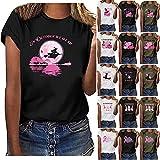 Breast Cancer Awareness Shirts Women Halloween Cute Pumpkin Sugar Skull Graphic Tees in October We Wear Pink Tshirt Short Sleeve Casual Summer Tops