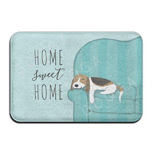 Shower Curtain pillow Happy Couch Beagle Home Sweet Home - Felpudo Antideslizante superabsorbente para decoración de Interiores y Exteriores, 60 x 40 cm