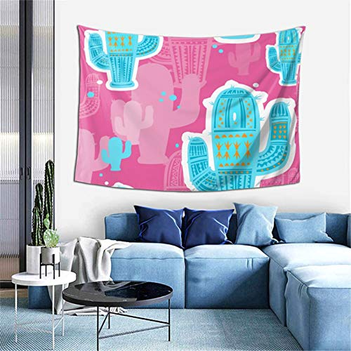 KZZ Cute Cactuses Pink Pattern Tapestry 60x40 inch Boutique Funny Tapestry Wall Hanging Party College Dormitory Apartment Bedroom Decoration Microfiber