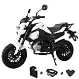 "X-PRO 125cc Vader Adult Motorcycle Gas Motorcycle Dirt Motorcycle Street Bike,Big 12"" Wheels! Fully Assembled in Crate! (White)"