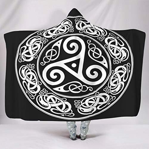 Acogedora manta con capucha redonda de trisquele con estampado celta cálido invierno sherpa multicolor manta con capucha para leer sofá cama blanco 130 x 150 cm