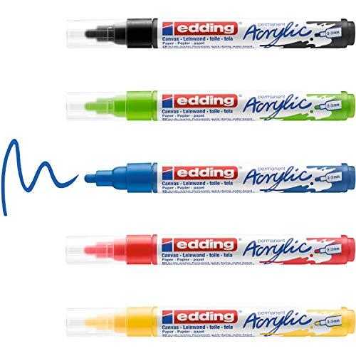 edding 5100 Acrylmarker - schwarz, rot, blau, gelb, gelb-grün - 5 Acrylfarben Set (basic) - Rundspitze 2-3 mm - Acryl Farben zum Malen auf Leinwand, Holz, Steine -...