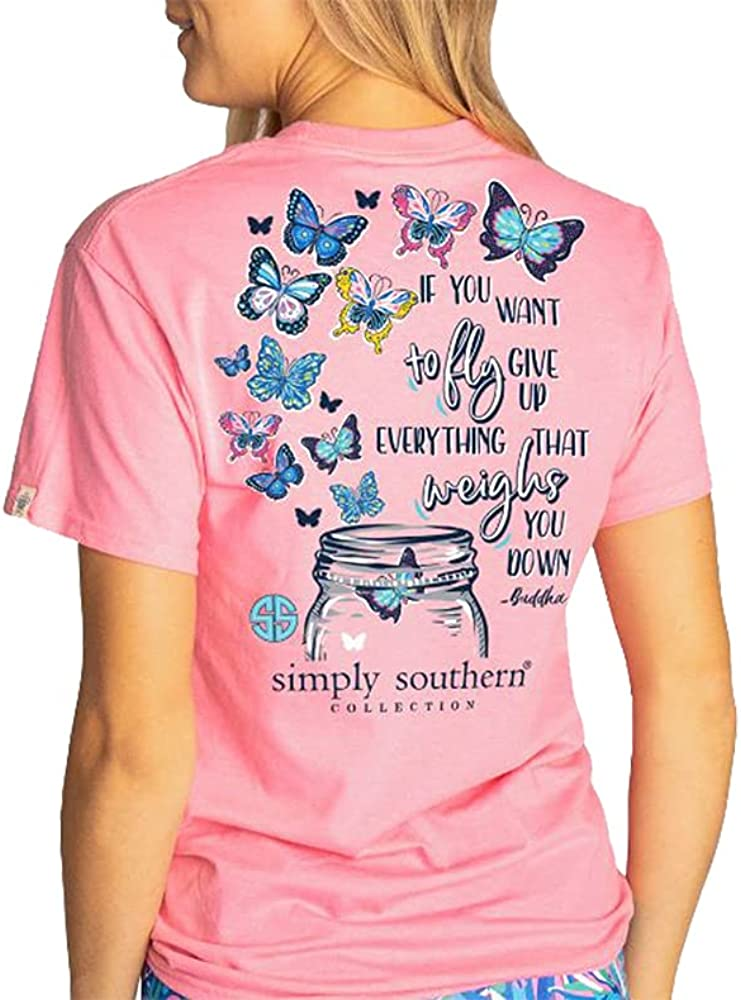 Simply Southern Women's If You Want to Fly Mason Jar Short Sleeve T-Shirt