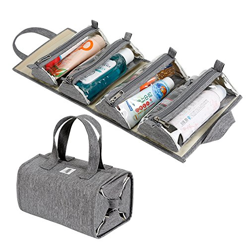513L4dOuaeL - Hanging Roll-Up Makeup Bag / Toiletry Kit / Travel Organizer for Women - 4 Removable Storage Bags - Organize Make Up, Cosmetics, First Aid, Medicine, Personal Care, Bathroom, Palette / Brush Holder