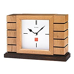 Bulova B1659 Usonian II Frank Lloyd Wright Mantel Clock, Natural Finish with Walnut Stain Base