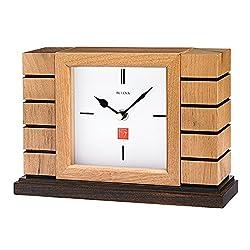 Bulova B1659 Usonian II Frank Lloyd Wright Mantel Clock, Natural Finish with Walnut Stain Base