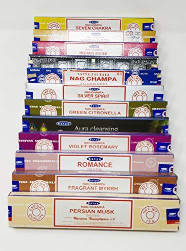 Satya Nag Champa and Sterling Effectz Combo Set of Incense Sticks and JR Incense Holder 12 Packs 15g, Multi Fragrances Set-JR14