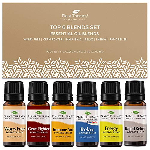 Plant Therapy Top 6 Synergies Set - Essential Oil Blends for Sleep, Stress, Muscle Relief, Energy, Health, 100% Pure, Undiluted, Natural Aromatherapy, Therapeutic Grade 10 mL