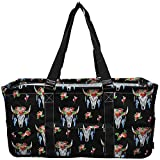 NGIL All Purpose Open Top 23' Classic Extra Large Utility Tote Bag Spring 2018 Collection (Bull Skull Black)