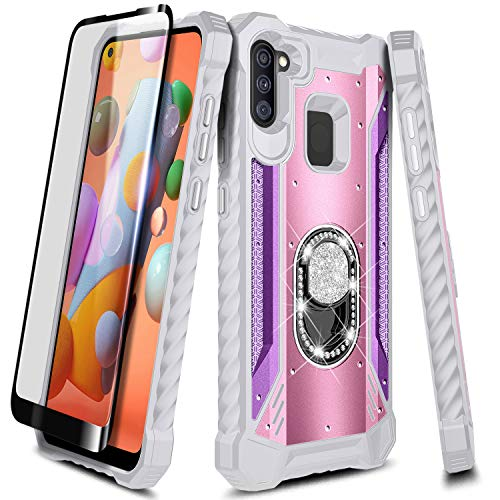 NZND Case for Samsung Galaxy A11 with Tempered Glass Screen Protector (Full Coverage), Aluminum Magnetic Metal Built-in Diamond Ring Stand Holder, Full-Body Protective Phone Case (Pink/Purple)