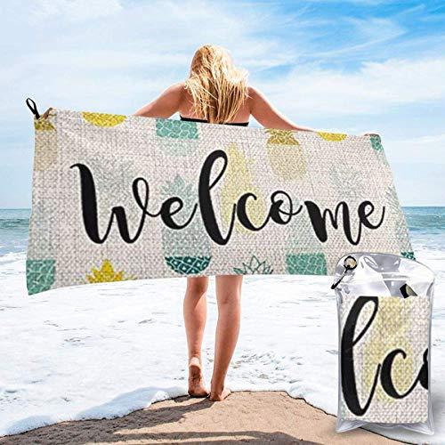 CHUNXU Toalla de playa de secado rápido, toalla de baño ligera de microfibra estampada de piña azul Yello superabsorbente para niños y adultos 81.5 x 163 cm