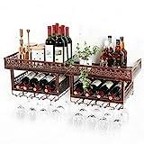 Betty Botelleros Estante Vino montado Pared 2 Niveles con Soporte para Vasos, Soporte para exhibición Botellas Vino, estantes Almacenamiento Copas Vino, para Bar/Cocina/gabinete marrón, marrón