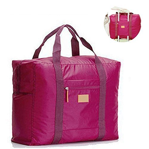 Jooks Travel Tote Bag Foldable Duffel Bag Hand Baggage lightweight Luggage Bag Suitcase Clothes Storage Bag Great for Camping and Gym Purplish Red