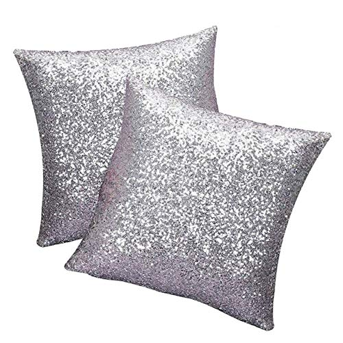 Panlom Sequins Cushion Throw Pillow Covers Cafe Home Decorative Square Sparkling Cushion Covers - Pack 2/16 * 16 inches Assorted Colors (Silver)