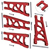 Hobbypark Front & Rear Aluminum Suspension Arms (Left/Right) for 1/10 Traxxas Slash 4x4 Upgrade Parts, fit HQ727, Replace 3655X,Red-Anodized, Set of 4