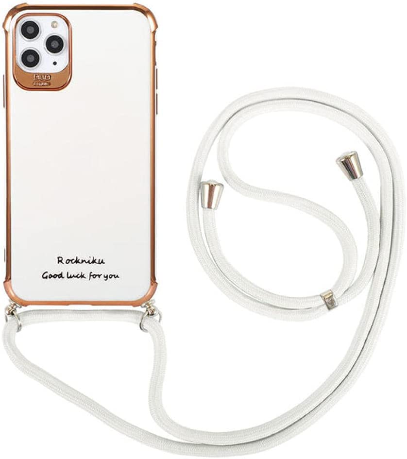 Neck Strap Cord Chain Phone Case for iPhone 12 11 Pro Max XS X XR 8 7 Plus 12 Case Crossbody Lanyard Glossy Plating Soft Cover,T4,for iPhone 7