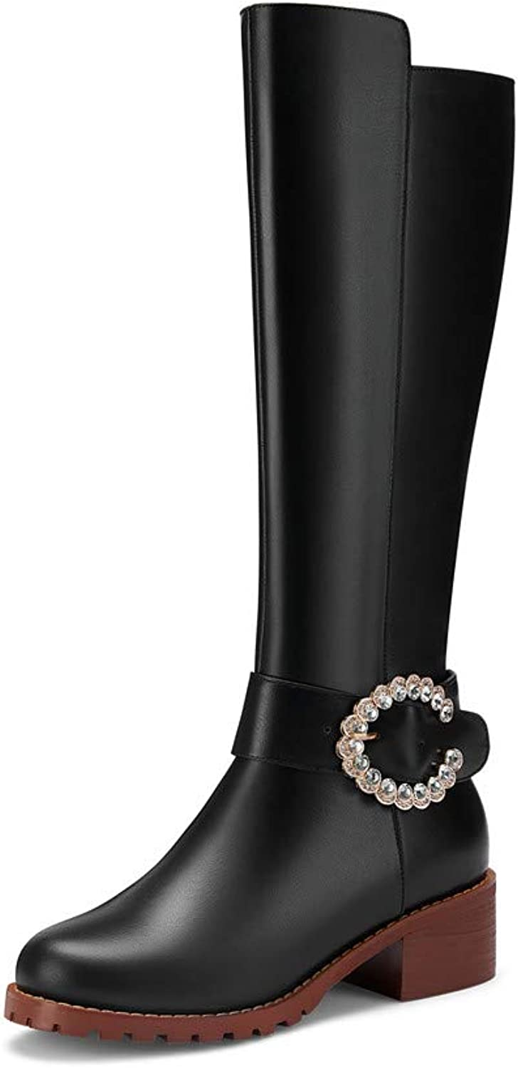 Nine Seven Genuine Leather Women's Round Toe Square Heel Elegant Handmade Concise Side Zip Concise Knee High Boots with Crystal
