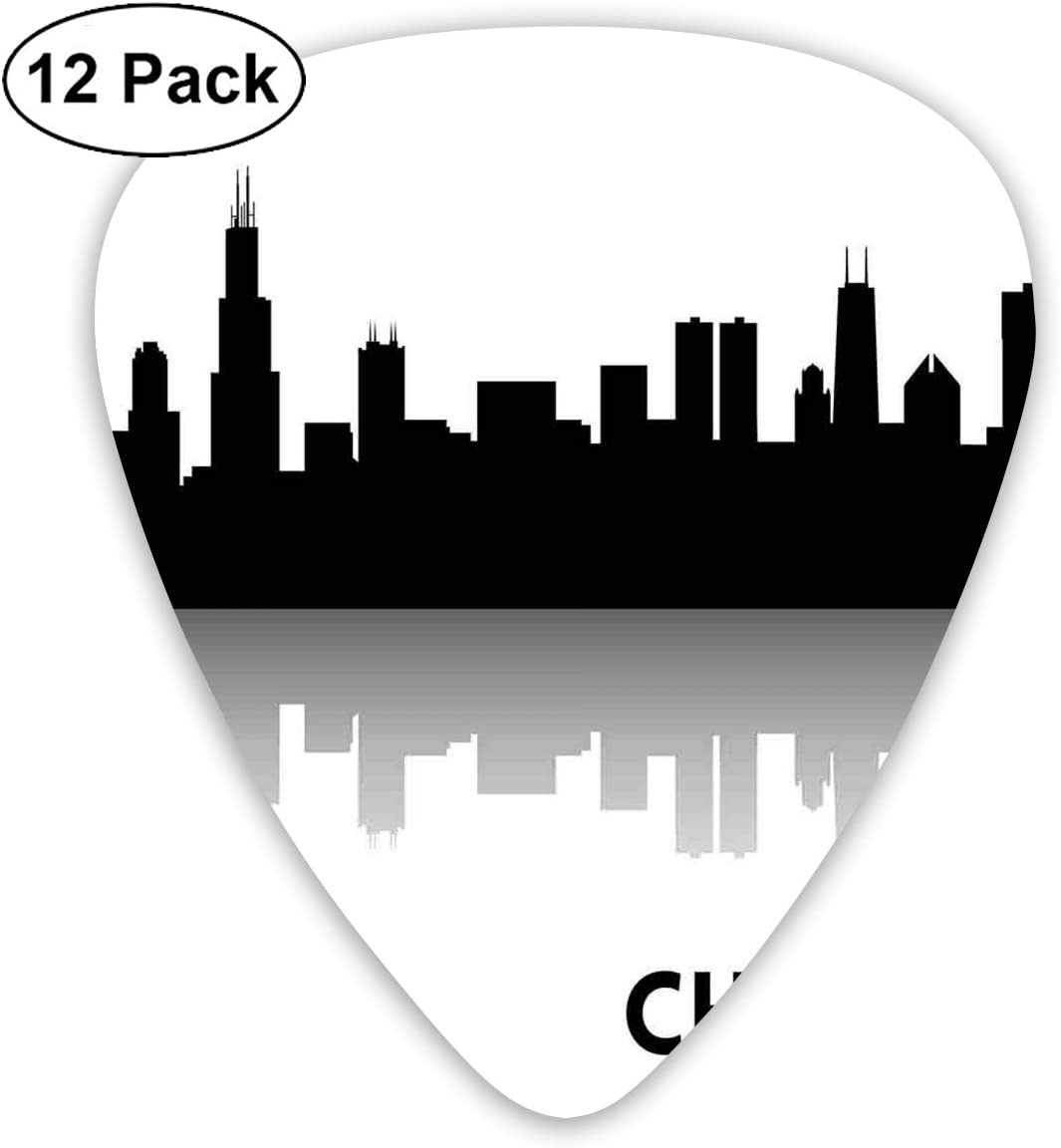 Guitar Picks12pcs Plectrum (0.46mm-0.96mm), Downtown Skyscrapers Illinois Tourism Travel Country Urban Minimalist,For Your Guitar or Ukulele
