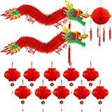 Chinese New Year Dragon, Angela&Alex 12 Pieces Chinese 3D Paper Dragon with Dragon Ball and Red Lanterns for Chinese Spring Festival Home Party Decorations