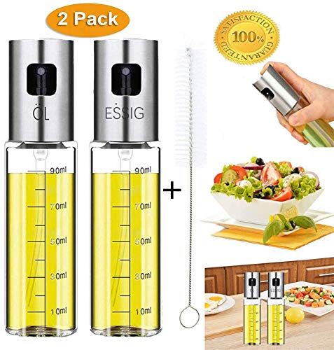 Nifogo Oil Sprayer,Pulverizador de vinagre y aceite,Aceite de oliva de Acero Inoxidable Botella de Vidrio para Herramienta,Dispensador de condimentos Ideal y portátil para Barbacoa/Cocina Diurna