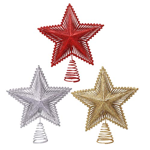 Toddmomy Glitter Star Tree Topper Christmas Star Treetop 5 Point Star Tree Top Sequin Christmas Tree Ornament Tabletop Decoration for Holiday Party Winter Home Decor Red Golden Silver