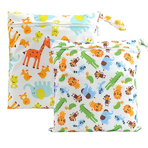 CHIC DIARY Wet Dry Bag Baby Nappy Organizer Bag Reusable Washable Cloth Diaper Bag (Animals(2 Bags), 30cm*28cm)