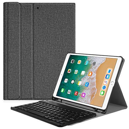Fintie, bluetooth-toetsenbord (US lay-out), hoes, compatibel met iPad Pro 10.5, iPad Air 10.5 2019, jeansoptiek, donkergrijs