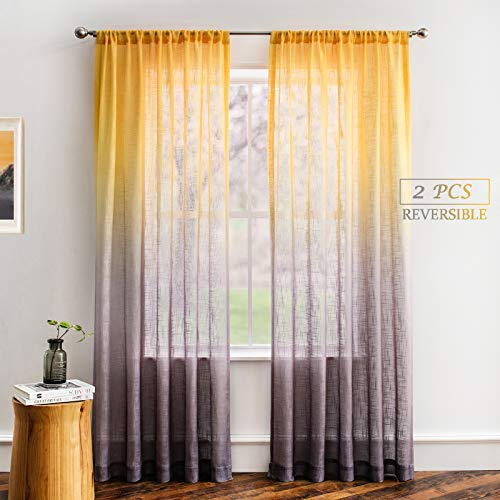 Melodieux Yellow Grey Linen Textured Ombre Semi Sheer Curtains 96 Inches Long for Living Room Bedroom Patio Door Golden Sunshine Rod Pocket Gradient Drapes, 52 x 96 Inch (2 Panels)