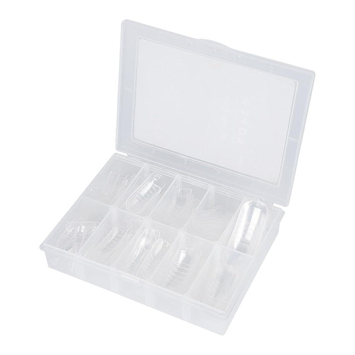 動く締める浅いネイルチップ - Delaman つけ爪、クリア、透明、120枚入れ