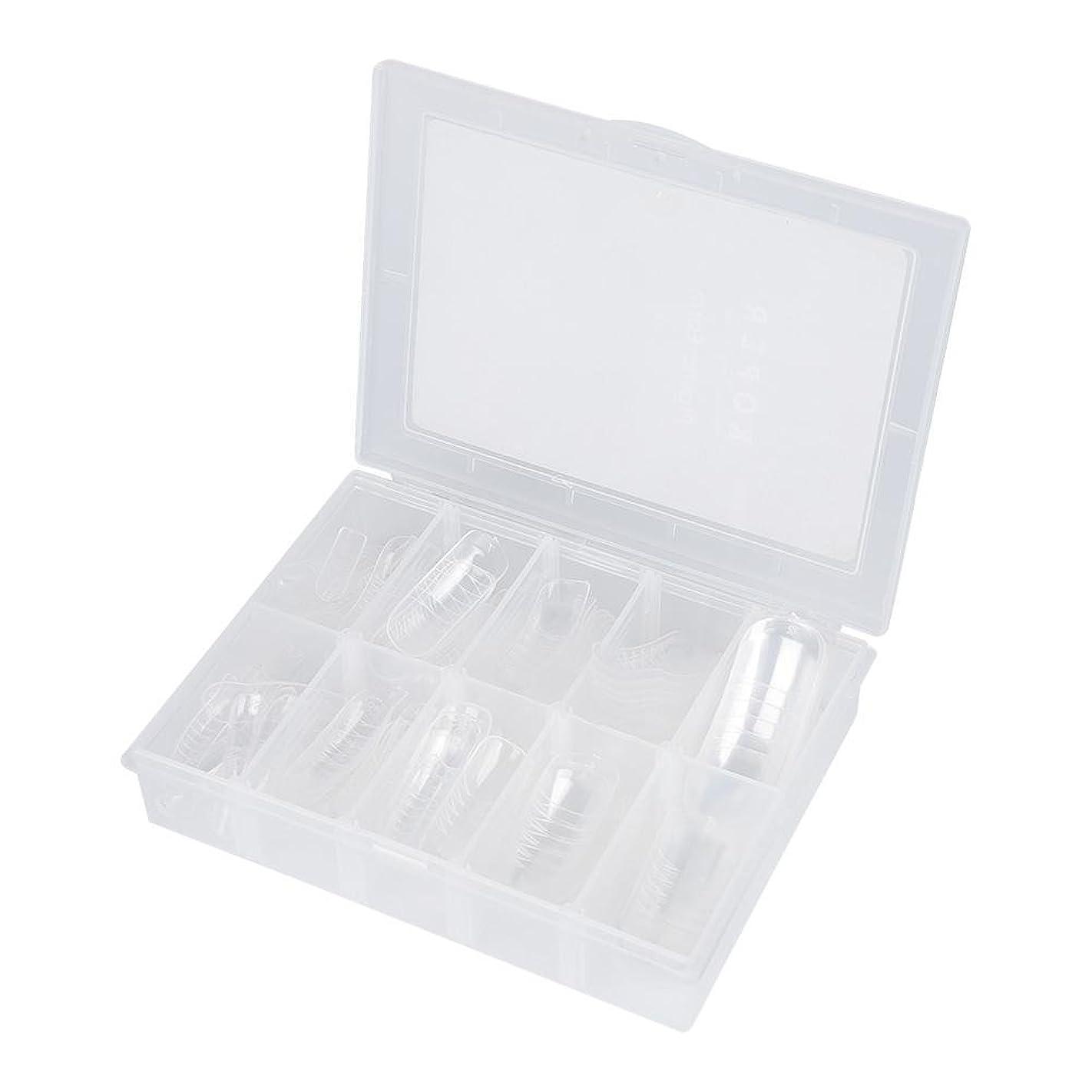 調和単調なぼかしネイルチップ - Delaman つけ爪、クリア、透明、120枚入れ