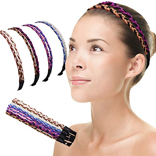 KCpenny Premium Cute Thin chamude Leather Headbands for women Elastic & Adjustable No Slip Headband Multi 4Pk girls & Teens Fashion Athletic Accessories (Mixed colors)Handmade Bohemian comfortable Hairbands