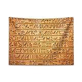 ABAKUHAUS Egipto Tapiz de Pared y Cubrecama Suave, Composición de Jeroglíficos, Decoración para el Cuarto, 150 x 110 cm, Anaranjado Pálido Ámbar