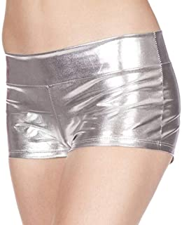 Abeaicoc Mujeres Sexy Wet Look Club Metallic Lingerie Shorts