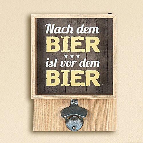 GILDE Wand-Bierkronensammler mit Flaschenöffner mit Spruch Nach dem Bier ist vor dem Bier