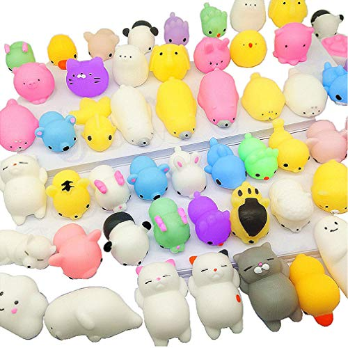 Qvatox 40 Pack Mochi Animals Squishies Kawaii Mochi Animals Squishies Squeeze Stress Toys Mini Soft Stretchy Squeeze Toys Mini Rising Panda Seal Polar Bear Fox Rabbit Cat Claw
