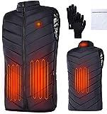 EXTSUD Chaleco Térmico para Hombres, Chaleco Calefactable para Mujeres, Chaleco Electrico USB con Temperatura Ajustable, Chaleco Invierno Ideal para Acampar Actividades al Aire Libre, Negro (XXXL)