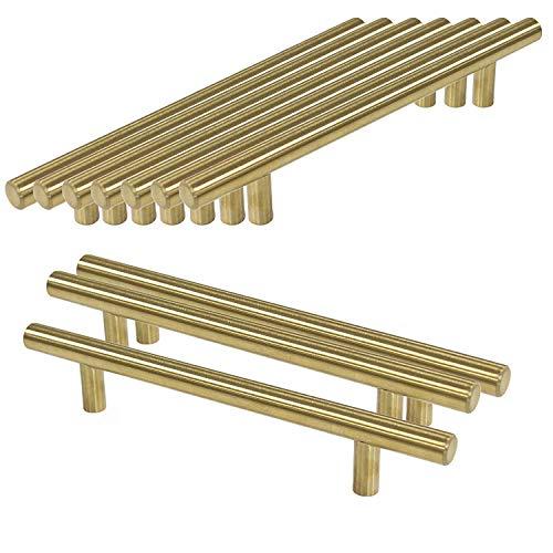 Womao 10 maniglie per mobili in acciaio inox spazzolato, oro, decorative, antiruggine, pomelli per armadi, cassetti, lunghezza totale: 50 mm