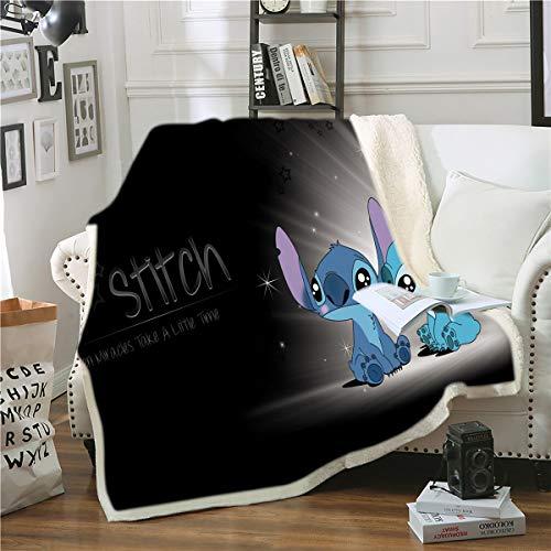 Goplnma-Disney Stitch Decke,Lilo Und Stitch Kuscheldecke Flanelldecke Für KinderundErwachsene, Tagesdecke Sofadecken,3D-Druck (150 * 200,25)