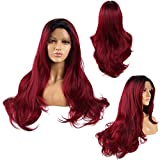 Ivan Cosmetic Wine Red With Black Top Straight Wave 24inch Synthetic Lace Front Kanekalon Fiber High...