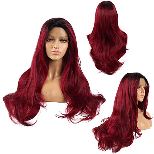 Ivan Cosmetic Wine Red With Black Top Straight Wave 24inch Synthetic Lace Front Kanekalon Fiber High Temperature Resistant Wigs With Baby Hair Pre Plucked Hair For All Skins Women.